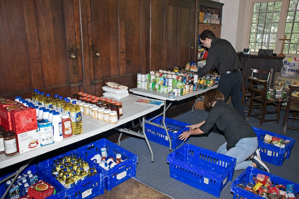 Preparing the food bank shop