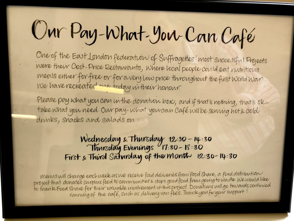 Pay what you can cafe