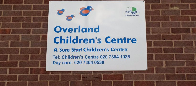 Overland Day Nursery sign, Parnell Road, Bow