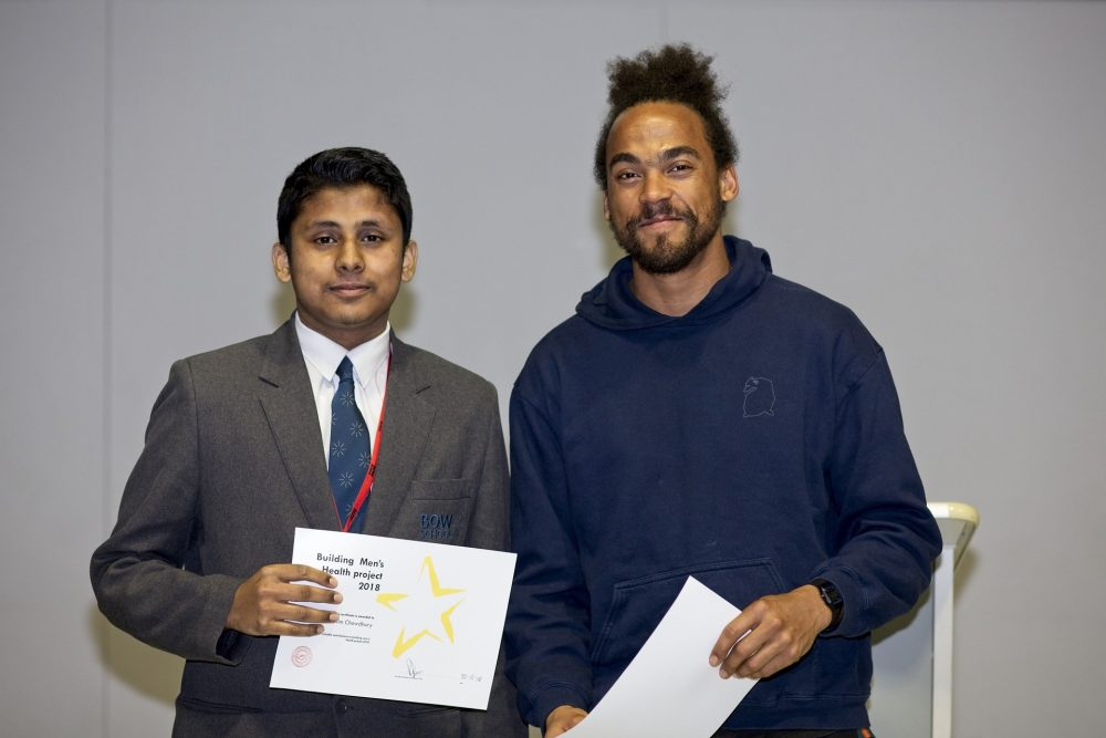 Radio One DJ, Dev Griffin, presented awards at Bow School.