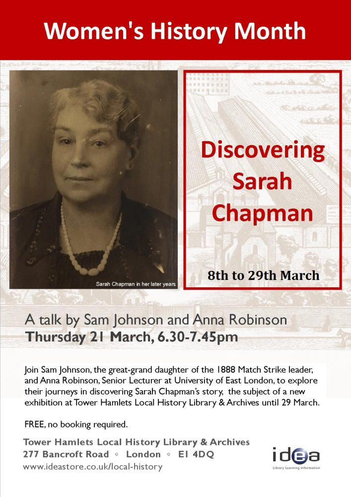 Sarah Chapman Talk Flyer