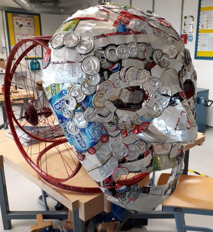 Men's Health Project sculpture head at Bow School