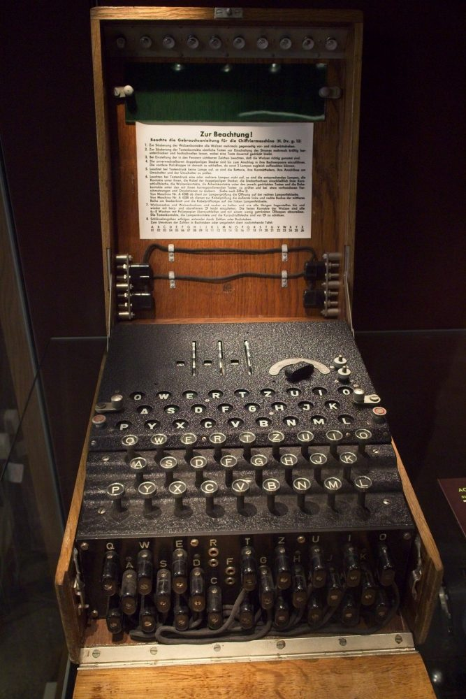 German earlier 3 wheel Enigma Machine with military plugboard.