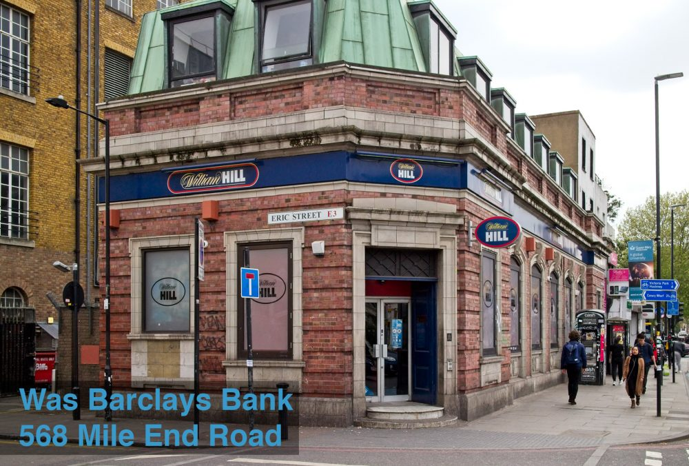 Once Barclays Bank beside Mile End Station