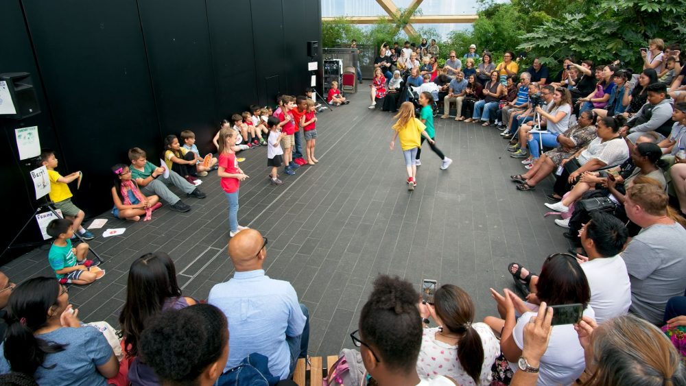 A young people's performance at Crossrail Roof Garden Sat 31st Aug