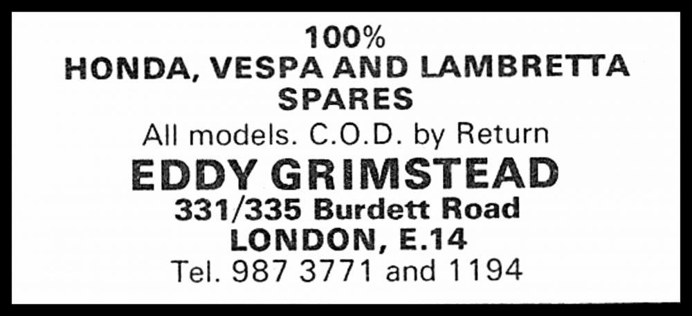 Eddy Grimstead Burdett Road Advert