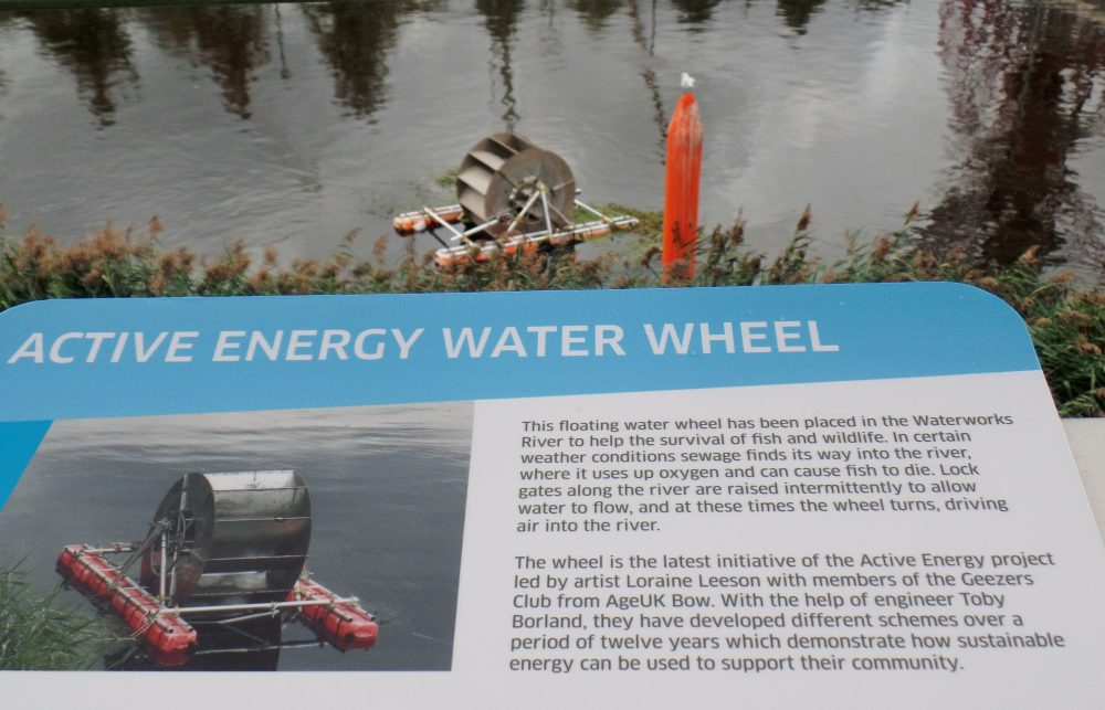 Active Energy water wheel information board
