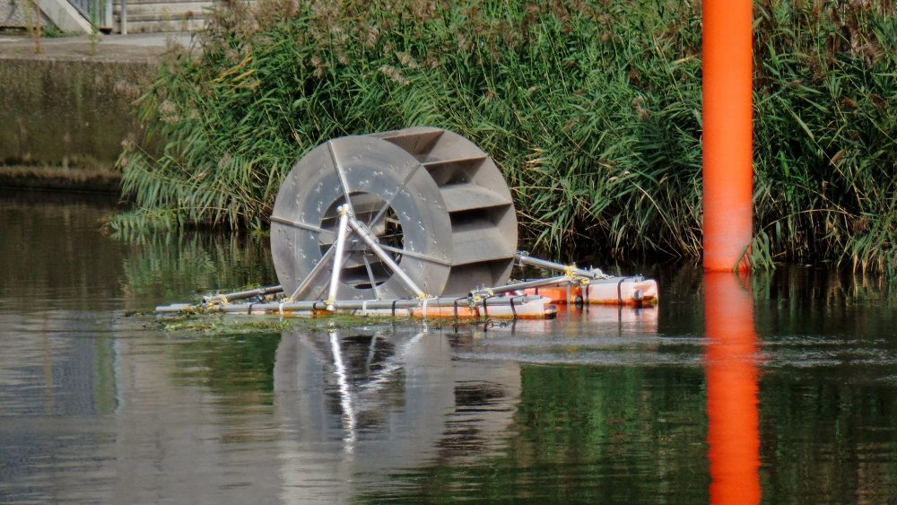 Active Energy water wheel in Waterworks River