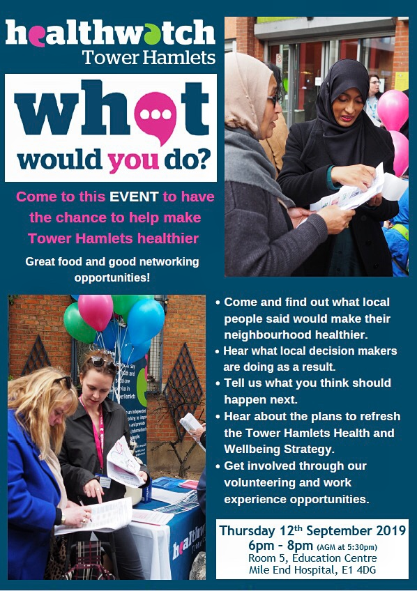 Healthwatch Tower Hamlets event 12th Sept 2019