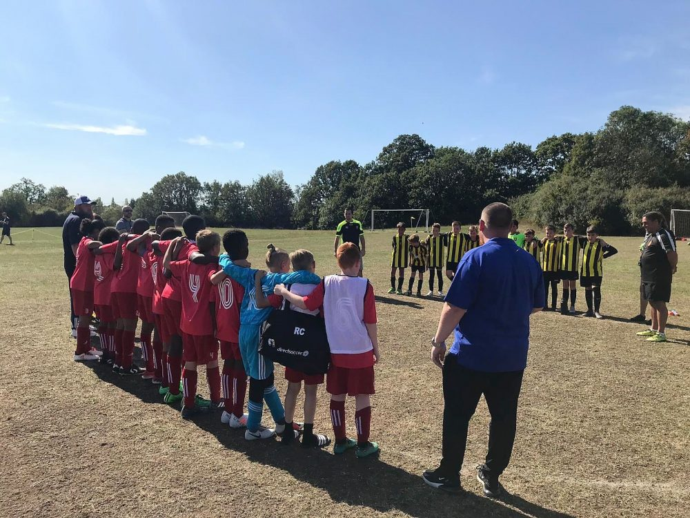 Gatcliffe Youth Football Club (in red) with Harold Wood Cougars
