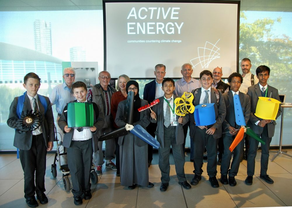The Active Energy Team. Loraine Leeson and The Geezers back row, pupils from Bow School at the front.