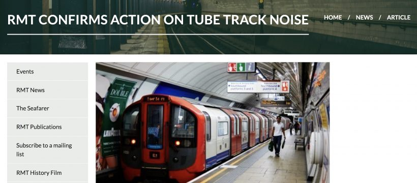 RMT confirms action on tube track noise