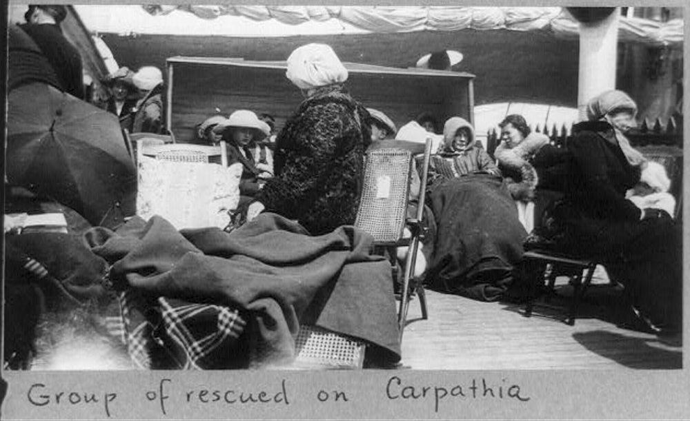 Group of survivors of the Titanic disaster aboard the Carpathia after being rescued.