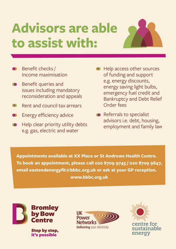 Bromley by Bow Centre energy and welfare benefit advice 2