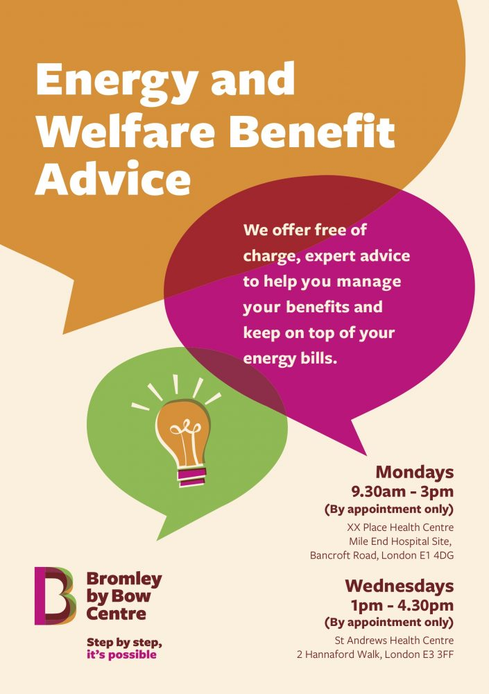 Bromley by Bow Centre energy and welfare benefit advice 1