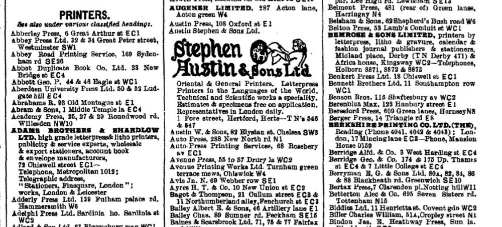 Printers in 1939 London PO directory