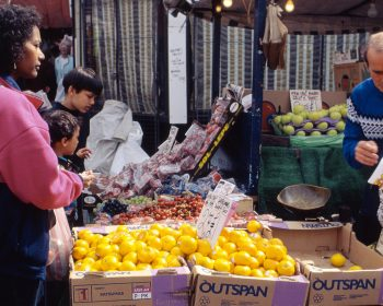 Fruit stall Roman Road Market 1990s