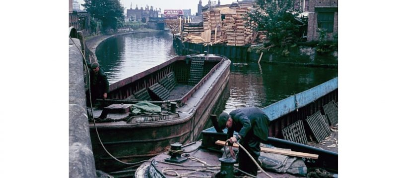 Boats turning at the Hertford Union Canal entrance having unloaded timber 1965 © London Canal Museum