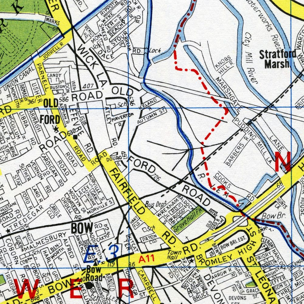 Map of Old Ford Road early 1960s