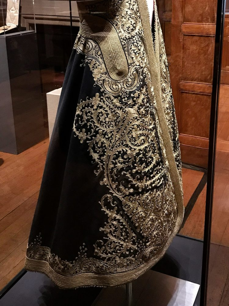 A black and gold embroidered Albanian ladies Guibba. collected by Edith Durham in 1909.