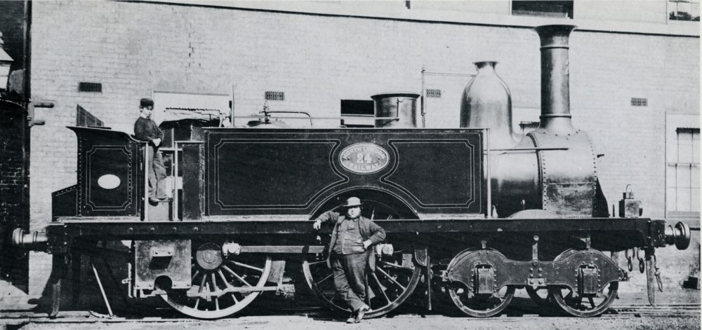 An early locomotive which ran on the NLR. It was built by Robert Stephenson & Co. in 1855. Image courtesy Science Museum Group.