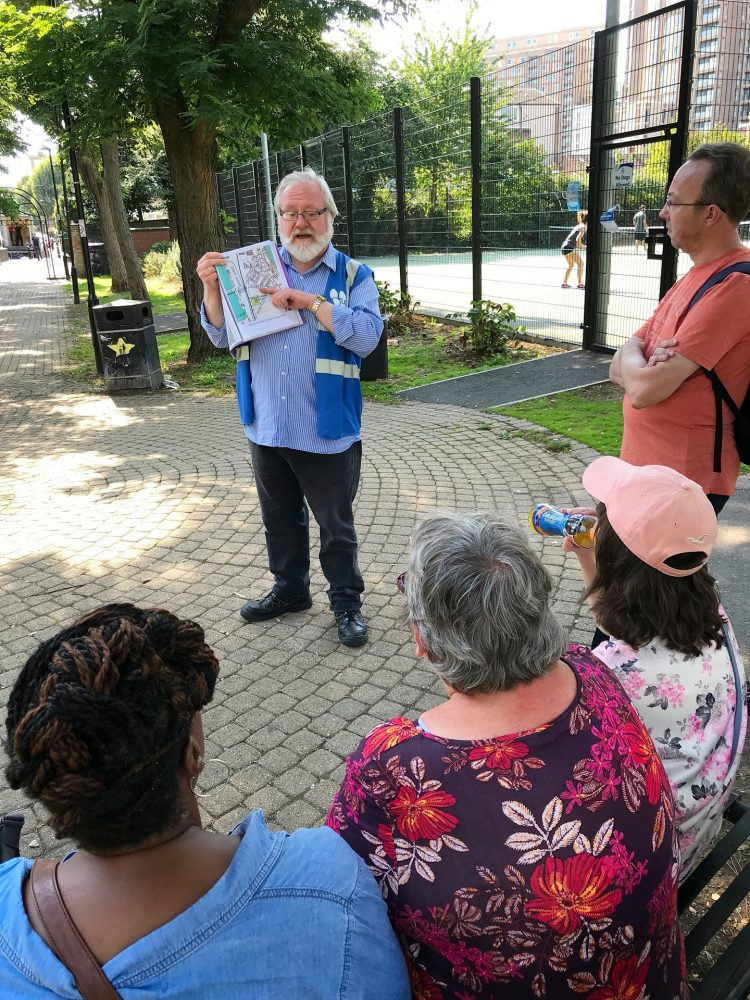 """David Charnick running his """"Cubitt Wakes the Isle of Dogs"""" guided walk"""