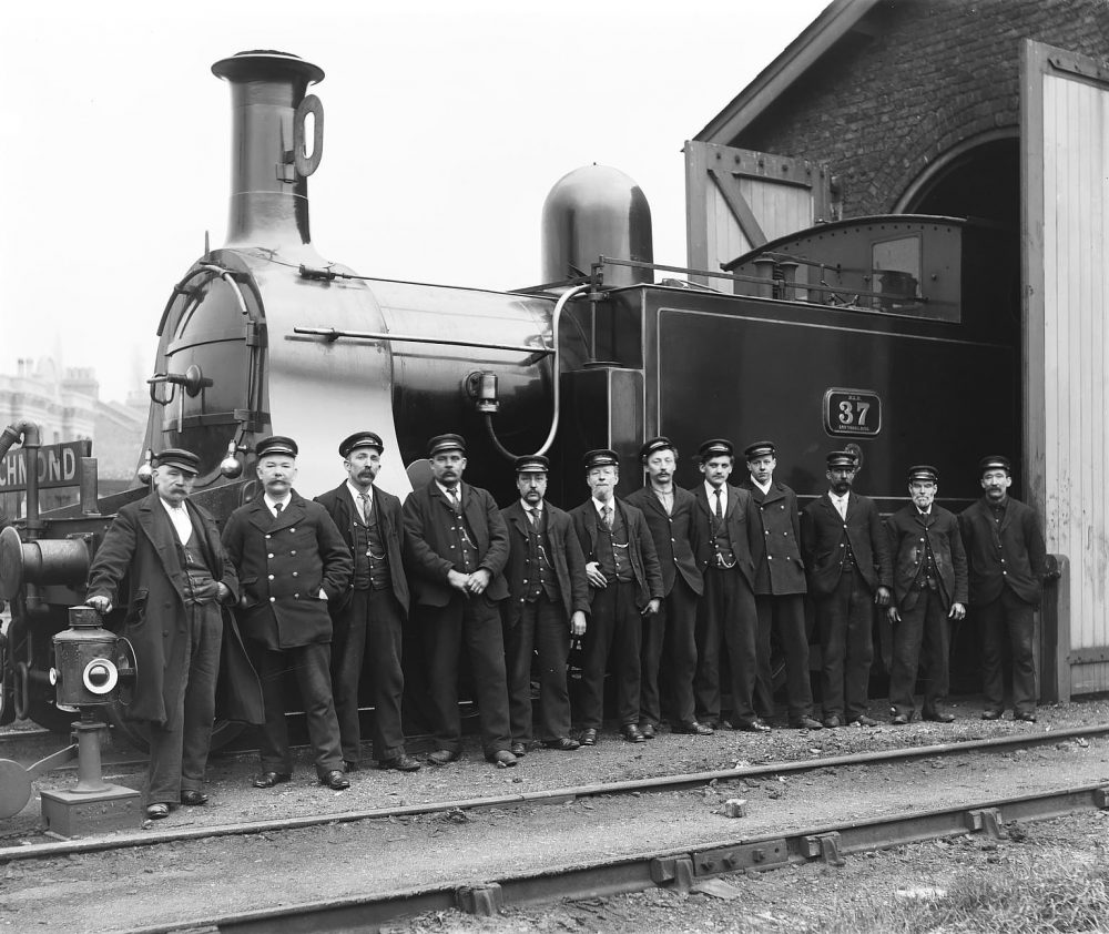 Proud workers on the North London Railway at Bow, 1900. Image courtesy Science Museum Group.