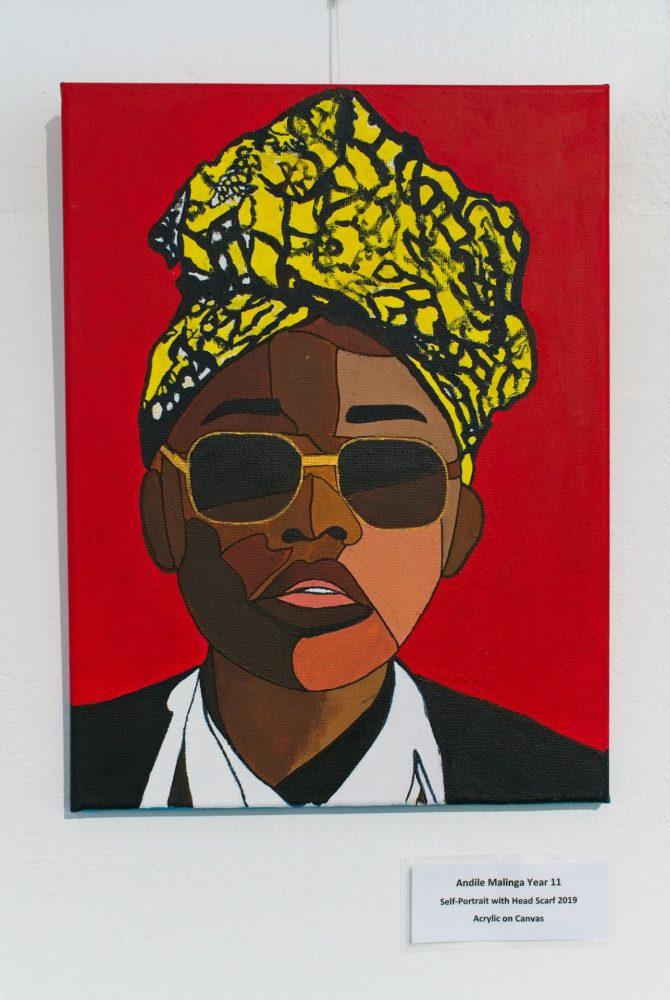 Self-Portrait with Head Scarf by Andile Malinga