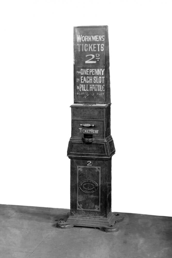 Workman's ticket machine on NLR approx 1900. Image courtesy Science Museum Group.