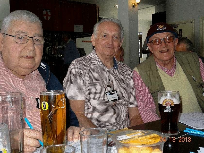 Don with Fellow Geezers Charlie Wiggins and Ray Gipson in the pub on a day out with the Any Old Iron Elderly West Ham Supporters Project