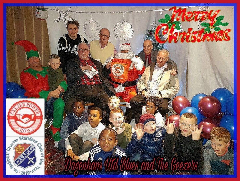 Don with fellow Geezers Barrie Stradling, Ray Gipson and Ricky Ayliffe at Dagenham Utd Blues Under 9s team Christmas Party used for their Christmas Card