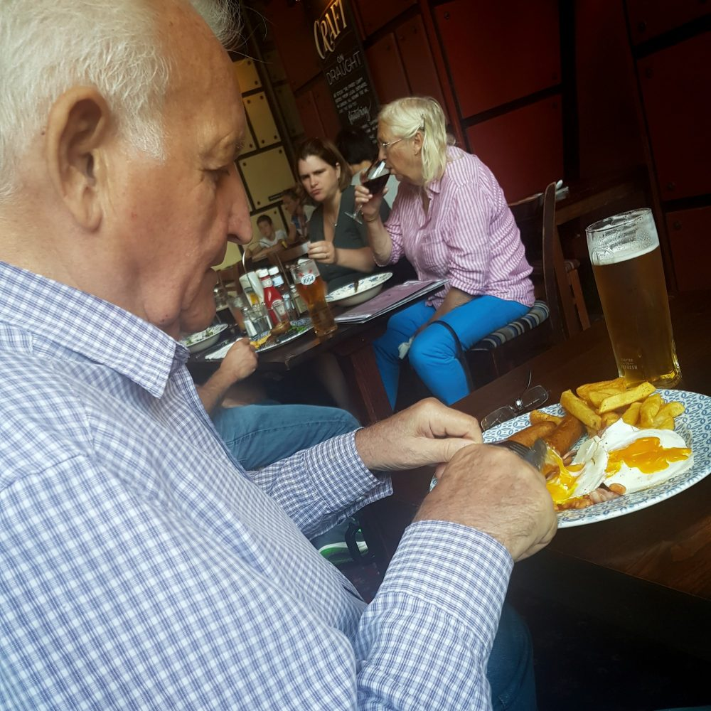 As Don Tomlin very rarely ate any food - when he did we took a photo! Here he's having a meal in the Wetherspoons Half Moon pub on Mile End Road