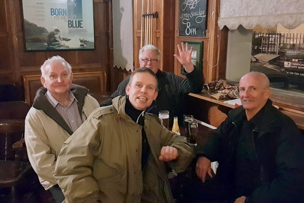 Don with fellow Geezers Barrie Stradling and Ricky Ayliffe and Barrie's friend Michael Karlstrom from Sweden in a Social Gathering in the Eleanor Arms