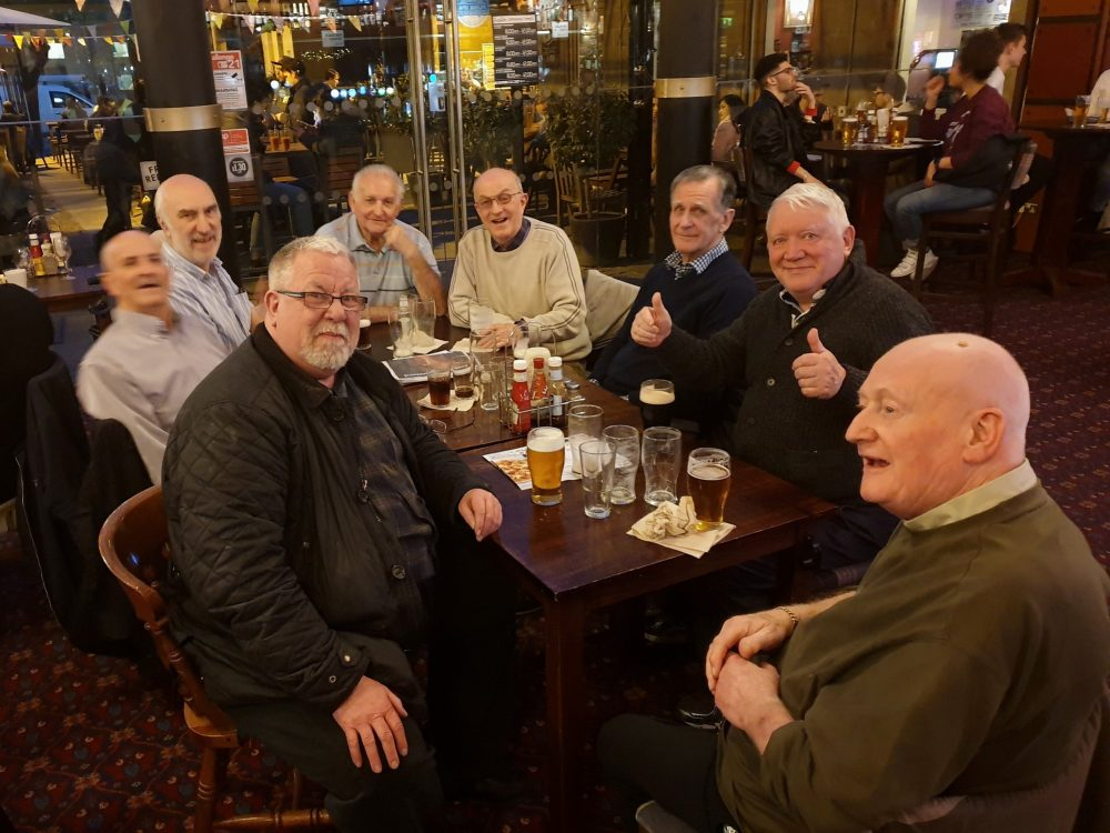 Don with all The Geezers at a Social Gathering in the Half Moon on Mile End Road