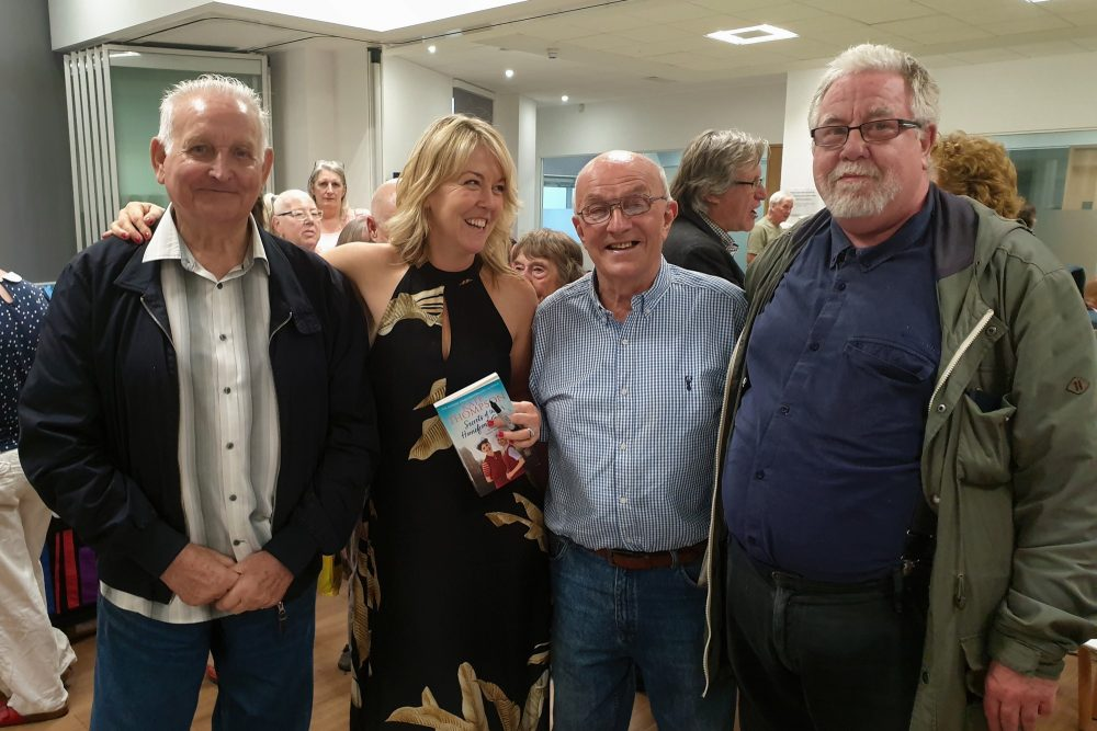 Don Tomlin (left) with Kate Thompson at her book launch for 'Secrets Of The Homefront Girls' with fellow Geezers Ray Gipson and Barrie Stradling