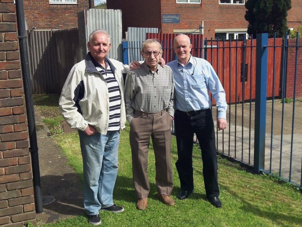 L-R Don, Ted Lewis and Ricky outside Appian Court in 2016