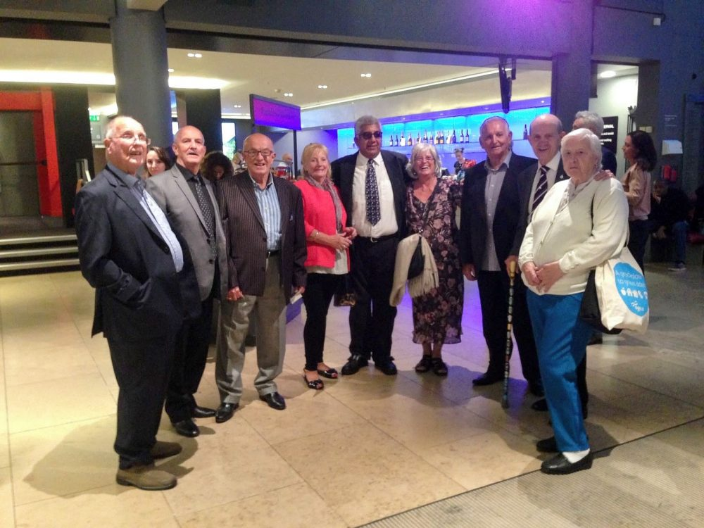 Don with Geezers members, John Day, Ricky Ayliffe, Ray Gipson, Tony Basra and John McLaughlin some with their partners at Sadler's Wells Theatre to see 'Home Turf' - a musical about West Ham United