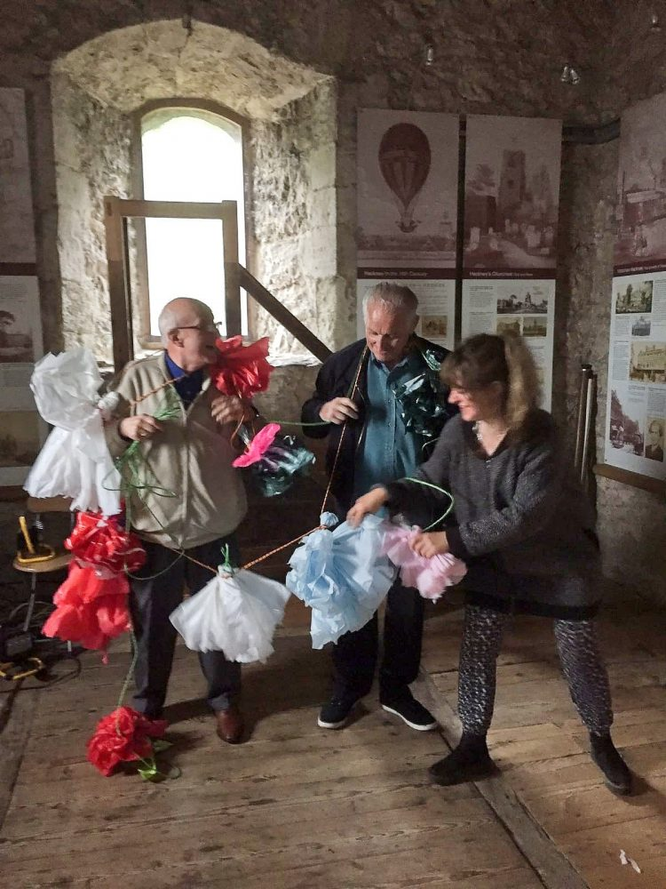 Don with fellow Geezer Ray Gipson with an artist at Babel Exhibition in St Augustine's Tower