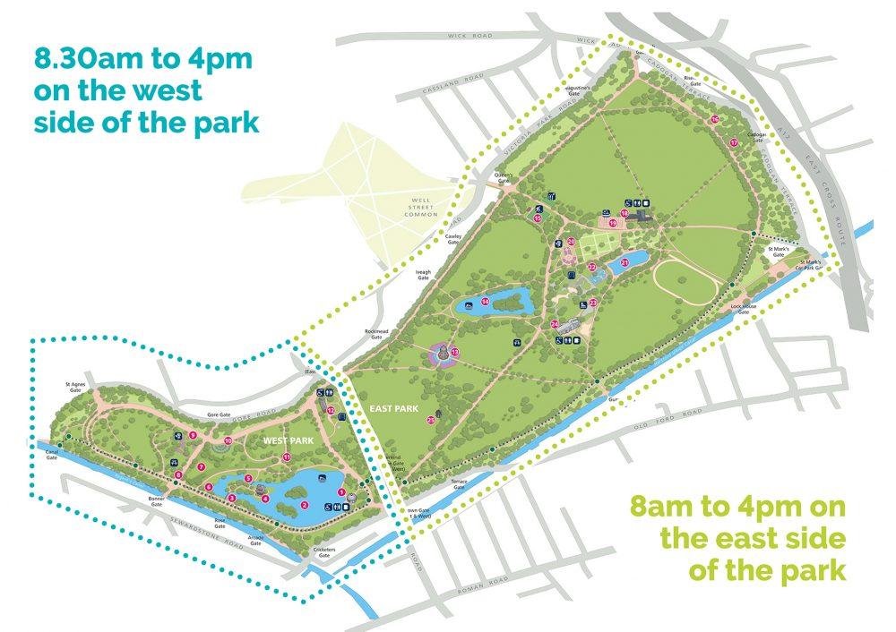 Temp coronavirus opening times for Victoria Park Tower Hamlets