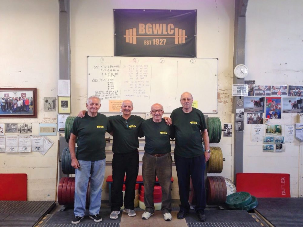 Don Tomlin (right) with fellow Geezers Ricky Ayliffe, Ray Gipson and Brian Godfrey at Bethnal Green Weight Training Club for over 50s Session