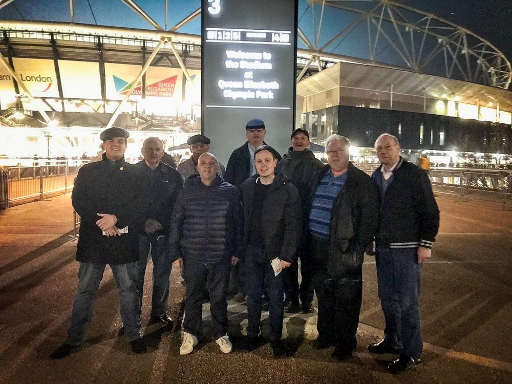 Don with fellow Geezers Ray Gipson, his son John and Grandson Jack and West Ham supporting friends, plus Geezers Ricky Ayliffe, Barrie Stradling and Brian Godfrey outside the New London/ Olympic Stadium before attending West Ham United v Fulham match
