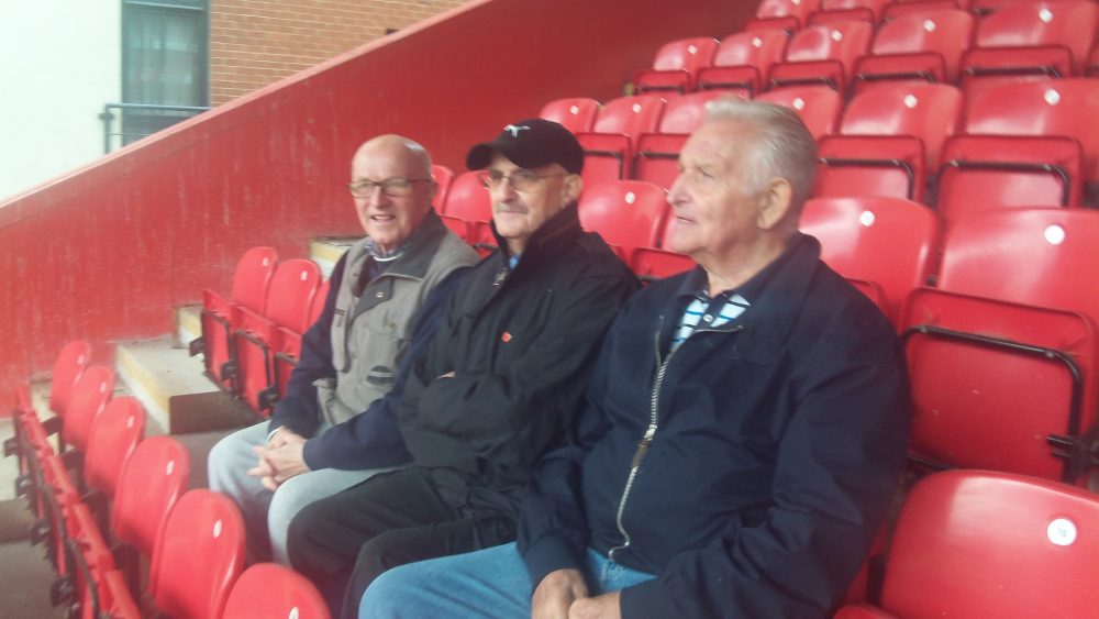 Don Tomlin (right) with fellow Geezers Ray Gipson and Ricky Ayliffe at Leyton Orient Football Club for Alzheimer's Friends Day