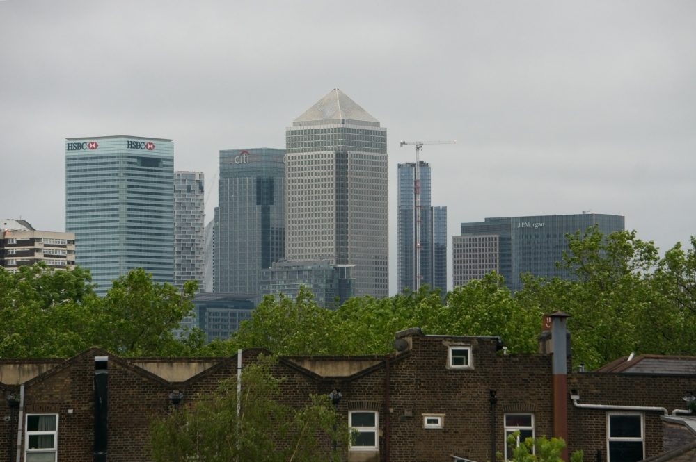 Canary Wharf viewed from Mile End