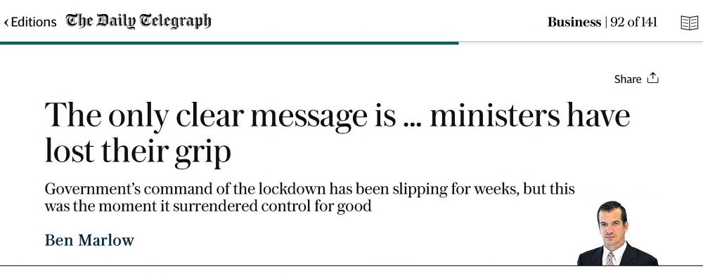 Ministers have lost their grip - Daily Telegraph 12th May 2020