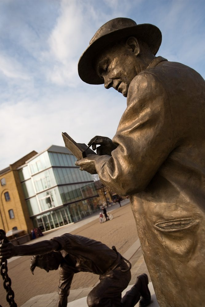 Dockers' Statue outside Excel by Les Johnson. Cast at Bronze Age Foundry Limehouse