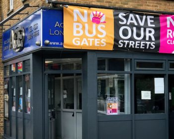 No Bus Gates banner header