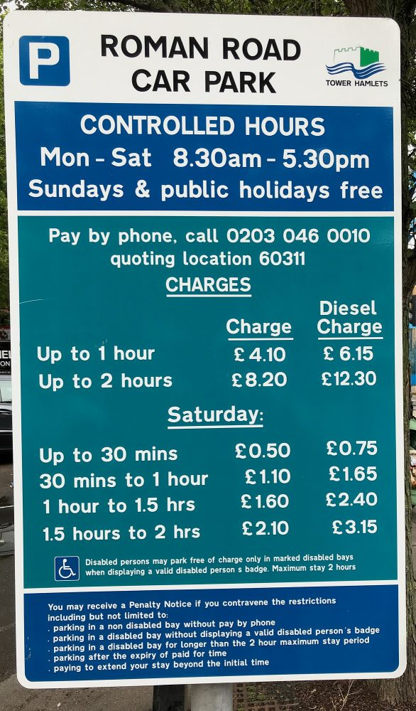 St Stephens Car Park charges Bow London E3