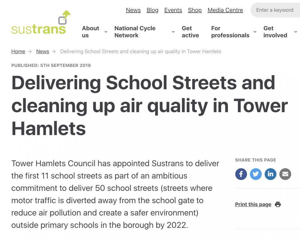 Tower Hamlets Council has appointed Sustrans to deliver the first 11 of 50 school Streets