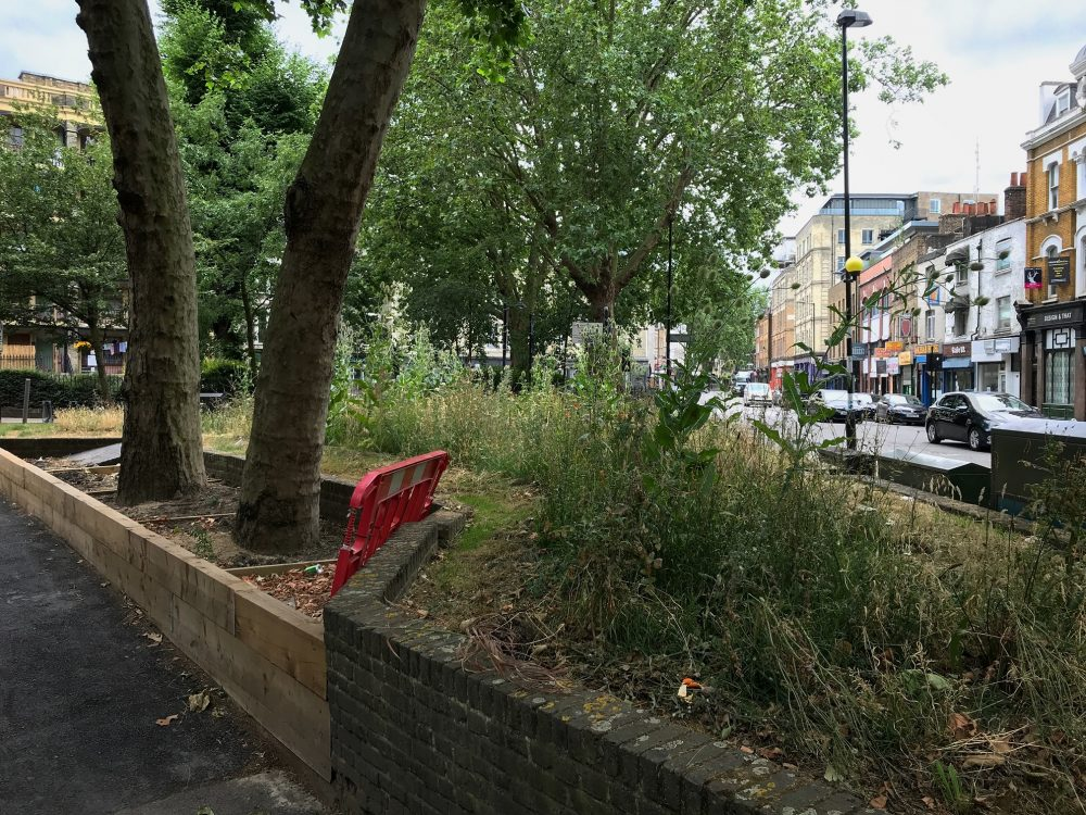 Unloved green space. Junction Columbia Road and Hackney Road