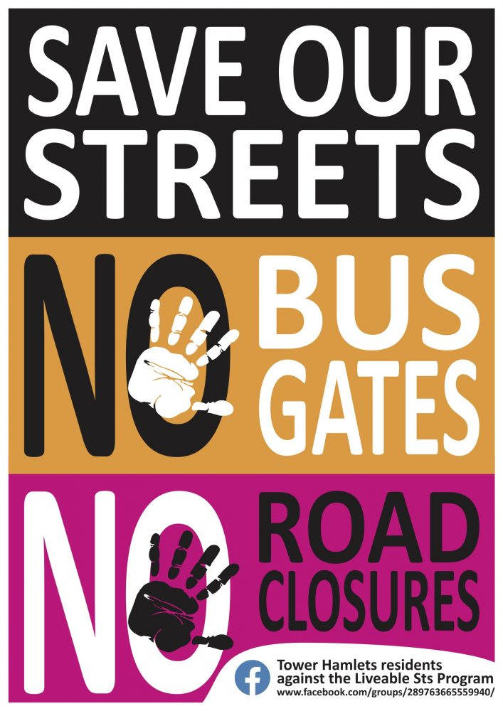 No bus gates, no road closures poster